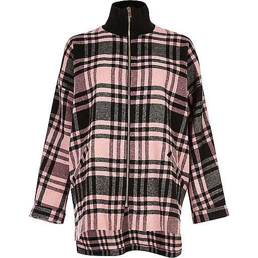 Veste-chemise zippée rose à carreaux et col montant
