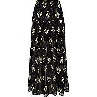 Jupe longue imprimé floral noire à volants