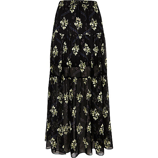 Black floral print tiered maxi skirt