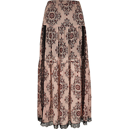 Pink paisley print lace panel maxi skirt