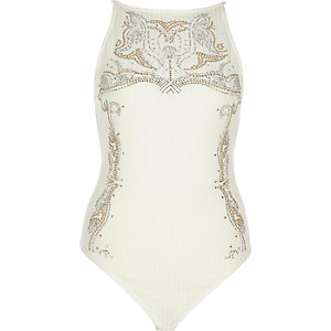 Cream stud embellished bodysuit