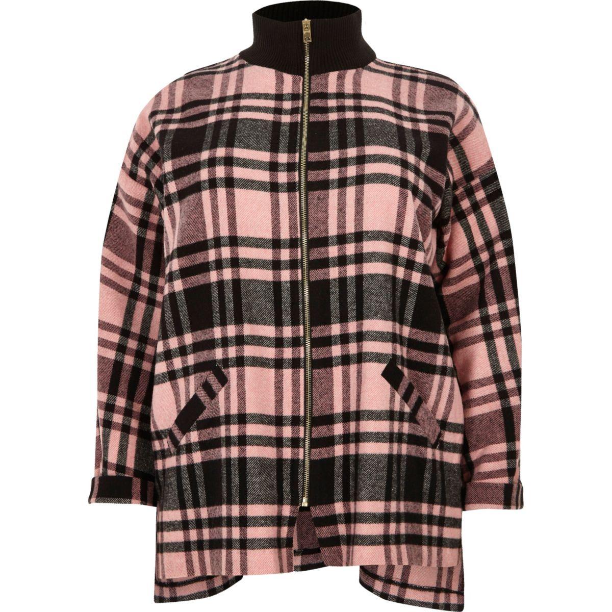 Veste chemise Plus à carreaux rose zippée