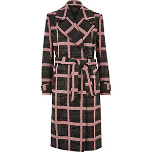 Pink check tied duster coat