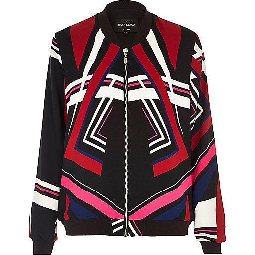 Black multicoloured print bomber jacket