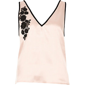 Blush pink floral applique pyjama top