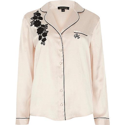 Cream applique pajama top