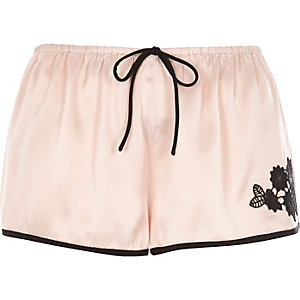 Blush pink floral applique pajama shorts