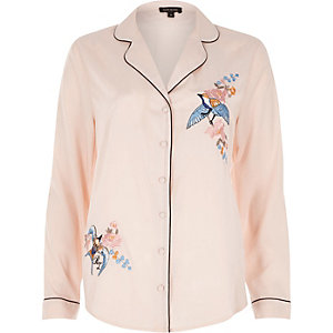 Pink embroidered bird pajama shirt