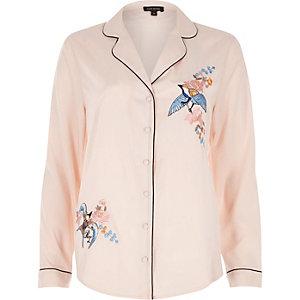 Pink embroidered bird pajama shirt