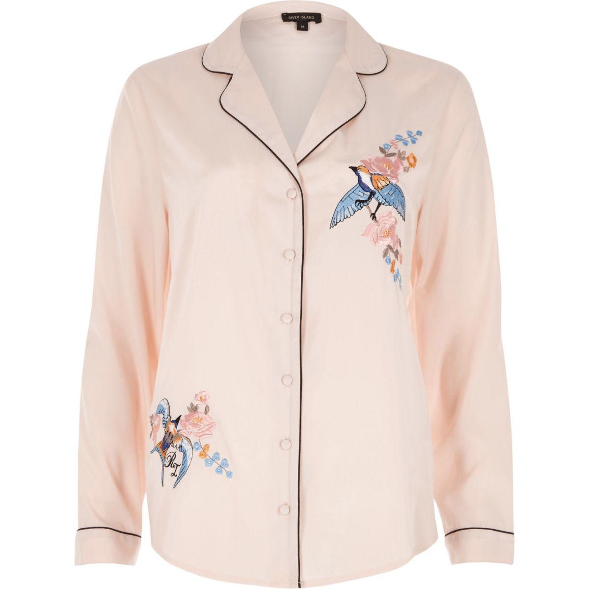 Pink embroidered bird pyjama shirt