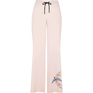 Pink embroidered bird pajama pants