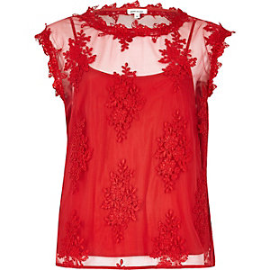Red floral applique top