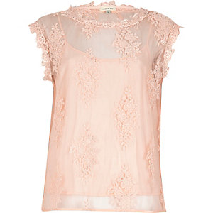 Pink floral applique top