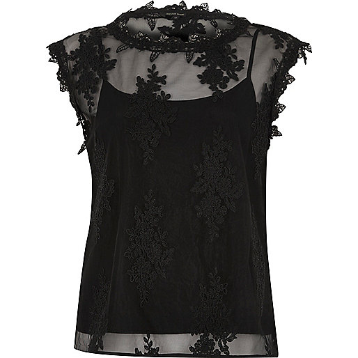 Black floral mesh lace sleeveless top
