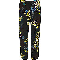 Blue floral print soft trousers