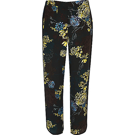 Blue floral print soft trousers