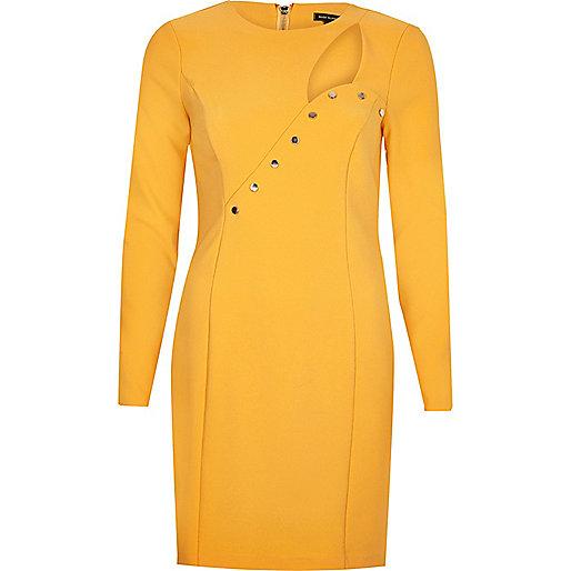 Bodycon-Kleid mit Knöpfen und Ausschnitt in Orange