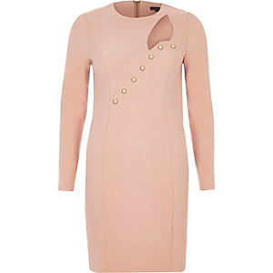 Nude pink button cut-out bodycon dress
