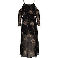 Black floral print midi dress