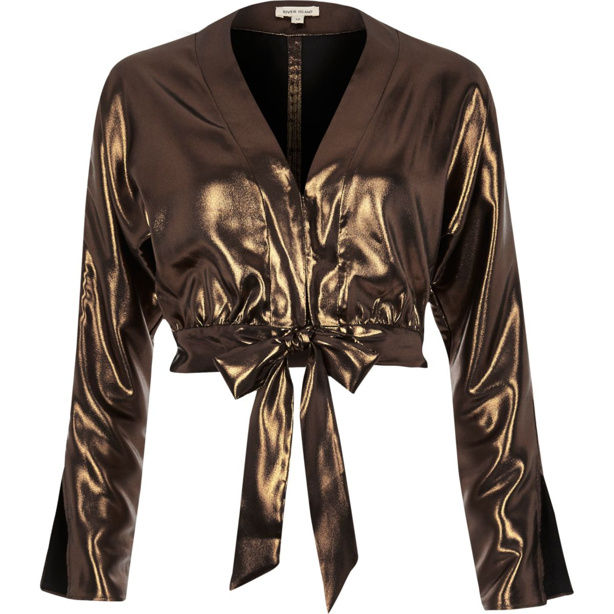Metallic gold starlight tie front crop top