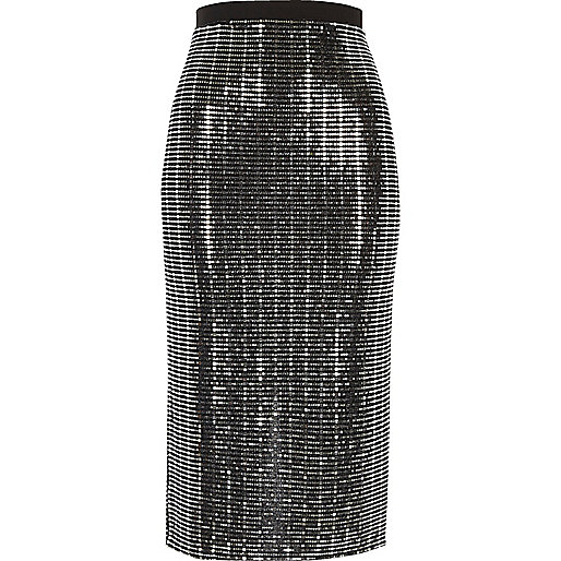 Metallic silver pencil skirt