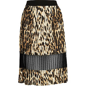 Brown leopard print lace panel midi skirt