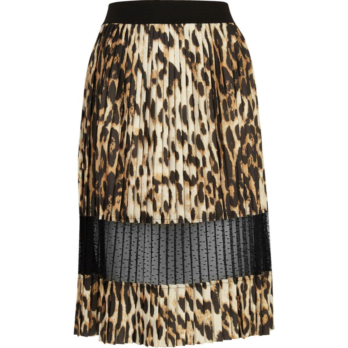 Brown leopard print lace panel midi skirt