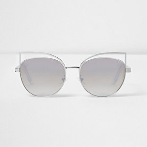 Silver wire cat eye mirror sunglasses