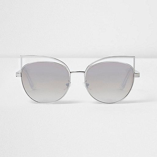 Silver wire cat eye mirror sunglasses