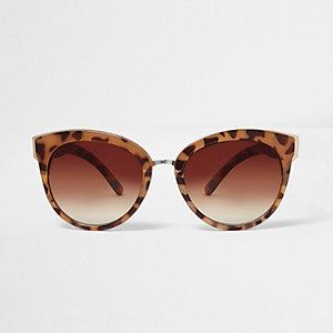 Braune Katzenaugensonnenbrille mit Leopardenmuster