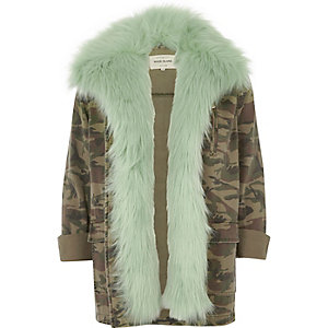 Khaki camo mint faux fur lined army jacket