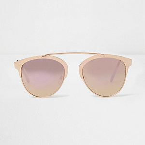 Roségoudkleurige zonnebril met brug en gespiegelde glazen