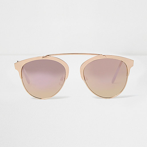 Rose gold brow bar mirrored sunglasses