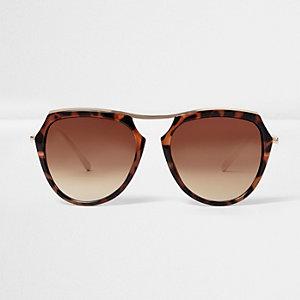 Bruine zonnebril met tortoiseprint