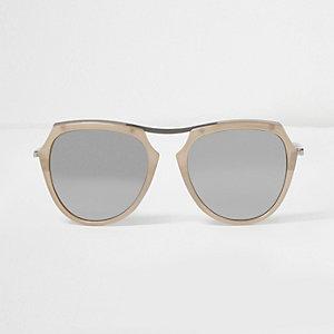 Sonnenbrille in Creme mit verspiegelten Gläsern
