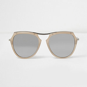 Cream silver mirror lens sunglasses