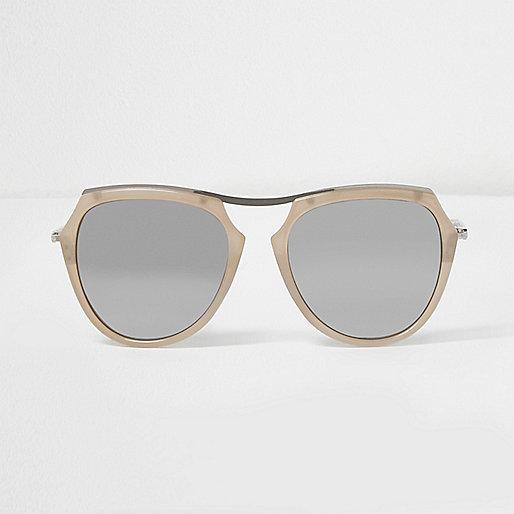 Nude silver mirror lens sunglasses