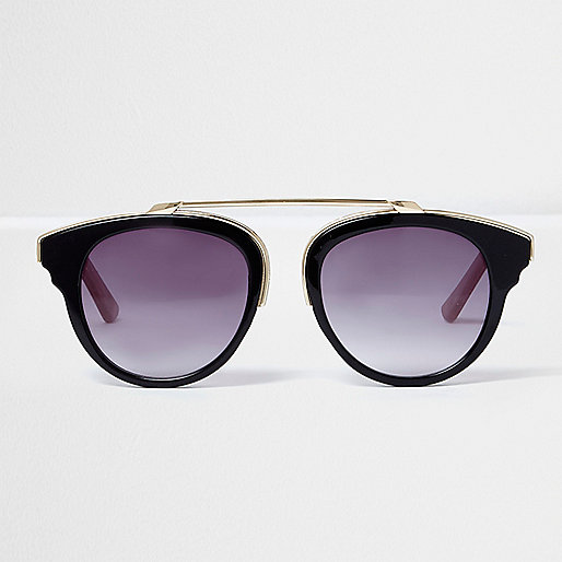 Black gold tone brow bar sunglasses