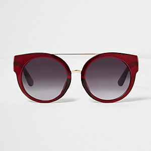 Red round cat eye smoke lens sunglasses