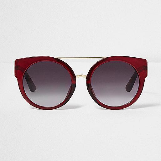 Red round cat eye smoke lens sunglasses