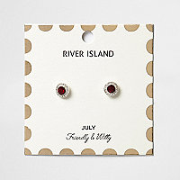 Red July birthstone stud earrings
