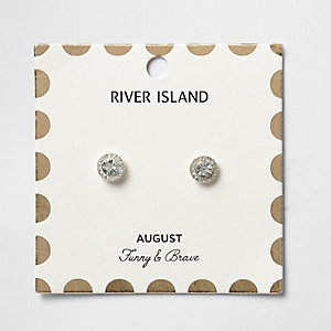 Green August birthstone stud earrings