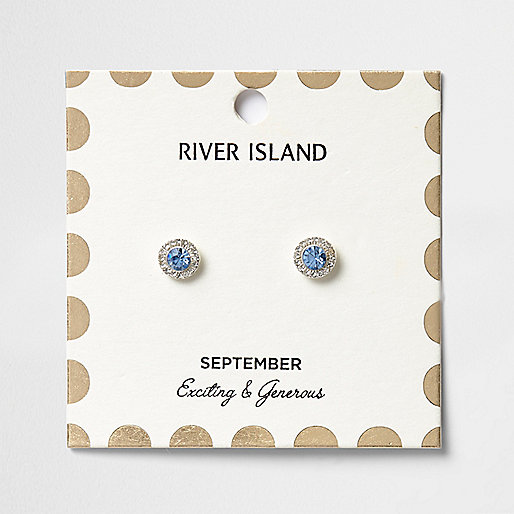 Blue September birthstone stud earrings