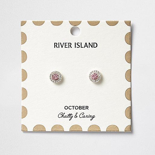 Clous d'oreilles à pierres de naissance mois d'octobre roses