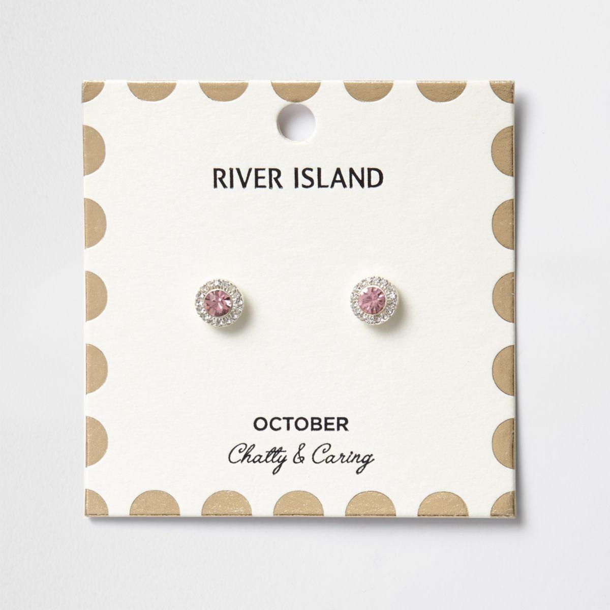 Pink October birthstone stud earrings