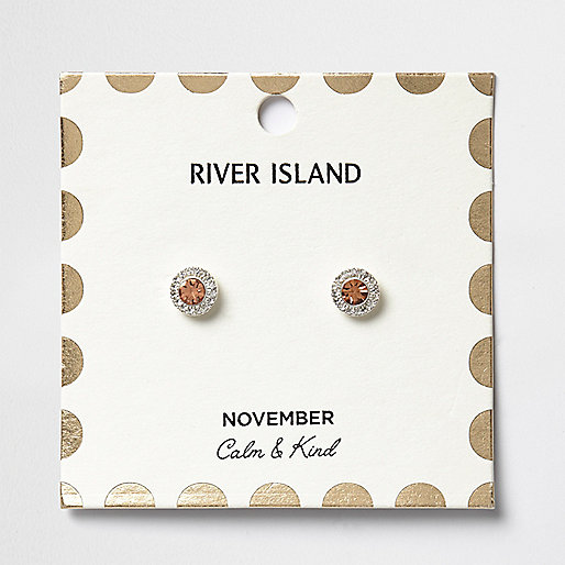 Orange November birthstone stud earrings