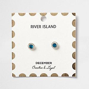 Clous d'oreilles à pierres de naissance mois de décembre bleues