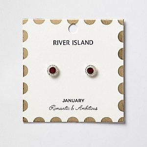 Red January birthstone stud earrings