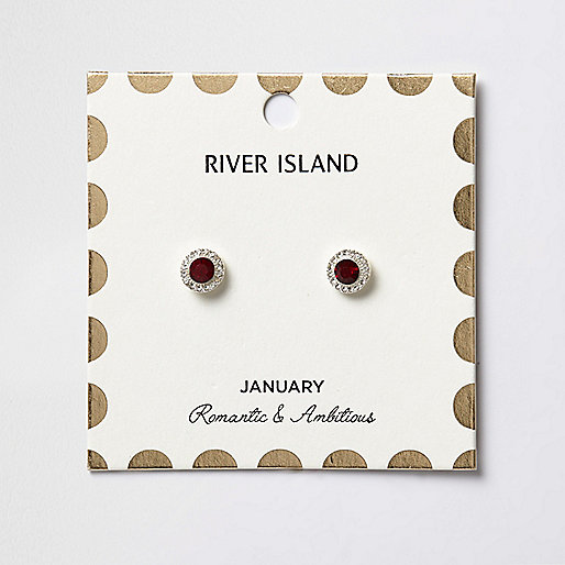 Red January birthstone stud earrings