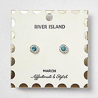 Blue March birthstone stud earrings